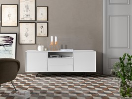 2 Door White High Gloss Buffet for Living Room