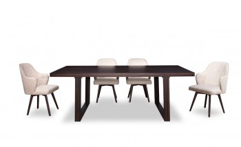 Stunning Dark Rich Oak Dining Table with Squared Legs