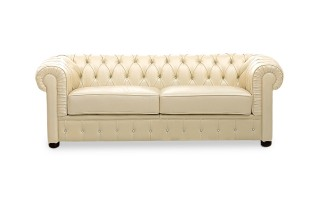 Ivory Italian Leather Sofa Set with Buttons