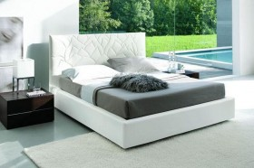 Made in Italy Leather Elite Platform Bed with Extra Storage