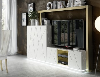 Modern Wall Unit for TV with Stripe Design