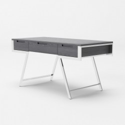 Elegant Elm Grey Office Desk with Metal Legs