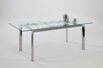Contemporary Clear Glass and Chrome Extendable Dining Table