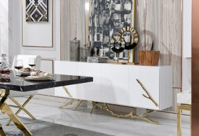 Luxury White Buffet with Golden Accents