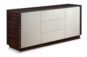 Grey with Walnut Doors Dining Room Buffet Server