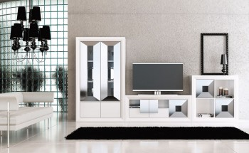 Elite Living Room Matte Wall Unit and Entertainment Center