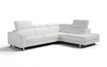 Italian Top Grain Leather Sectional with Adjustable Headrests