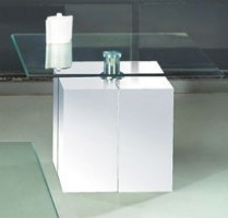 Square Side Table with Clear Glass Top and White Base