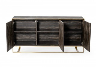 Glam Black Zebrawood Buffet with Brushed Gold Accents