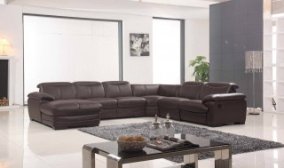 Large Brown Leather Contemporary Sectional Set with Recliner Chair
