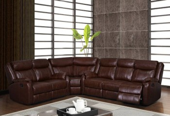 Traditional Brown or Burgundy Sectional with Reclining Function