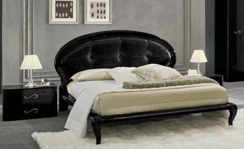 Lacquered Made in Italy Leather Elite Platform Bed