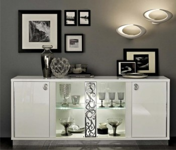 Four Door Sideboard with Light Made in Italy