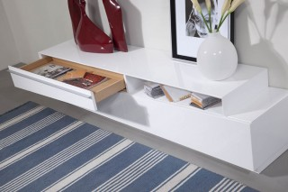 White Designer Media Stands and Cabinets