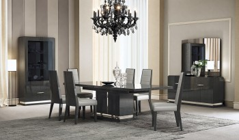 Elegant Five Piece Dining Set with Black Leatherette Chairs