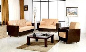 Dilan Dual Colored Fabric Sofa Set with Storage