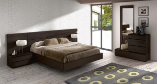 Lacquered Made in Spain Wood High End Platform Bed with Wave Design