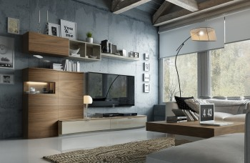 Elegant Living Room Wall Unit with Entertainment Center