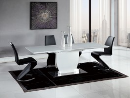 Contemporary Black and White Dining Set with Elegant Black Chairs