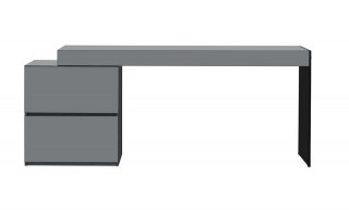 Two Drawer Grey High Gloss Office Desk with Glass Leg
