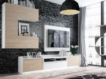 Elite Beige and White Wall Unit with Entertainment Center