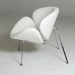 Contemporary White Leatherette Stainless Steel Legs Chair