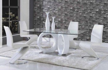 Luxurious Rectangular Glass Top Leather 5 pc Dinette Set