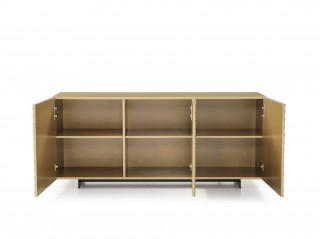 Luxury High Gloss Gold Buffet with Wave Doors
