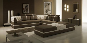 Bonded Leather Sectional Sofa with Tufted Inserts