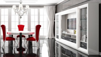 Modern High Gloss White and Gray Wall Unit