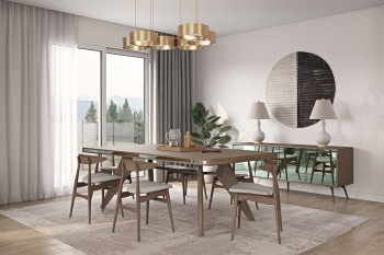 Modern Walnut Dining Table with Side Glass Accents