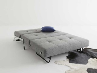 Light Grey Fabric Upholstered Contemporary Convertible Sofa Bed