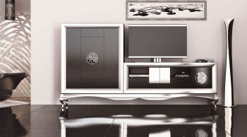 Elegant Matte Wall Unit and Entertainment Center