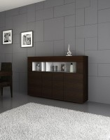 Contemporary Sideboard with Four Doors in White and Tobacco
