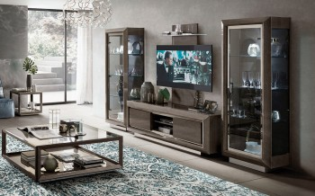 Contemporary Lacquered Entertainment Wall Unit with Display Shelves