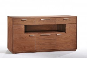 Contemporary Walnut Buffet with Door and Drawers