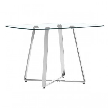 Chromed Steel Base Dining Table with Square Shaped Clear Glass Top