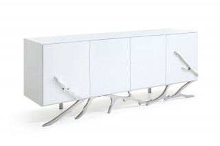 Modern White Buffet with Silver Accents