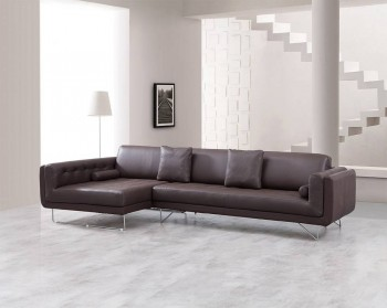 Luxury Leather Corner Sectional Sofa with Pillows