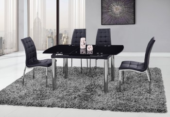 Modern Black Glass Extendable Table with Black Leatherette Chairs