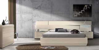 Lacquered Made in Spain Wood Platform and Headboard Bed with Lights