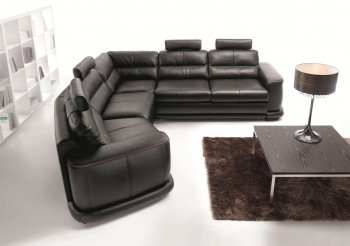 Contemporary Sectional Sleeper in Italian Leather