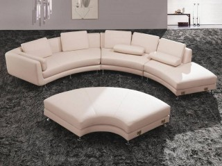 Fashionable All Real Leather Sectional with Pillows