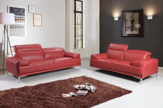 Madrid Contemporary Italian Leather Sofa Set in Red
