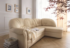 Two Piece Italian Leather Upholstered Sectional Sofa