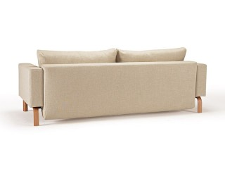 Natural Khaki Fabric Sofa Bed with Durable Oak Legs