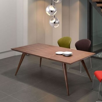 Contemporary Modern Sturdy Walnut Dining Room Table
