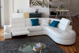 Elegant Curved Sectional Sofa in Leather