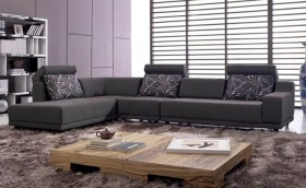Stylish Microfiber Sectional Sofa with Chaise with Pillows