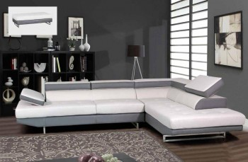 Contemporary Gray and White Sectional Sofa with Matching Ottoman